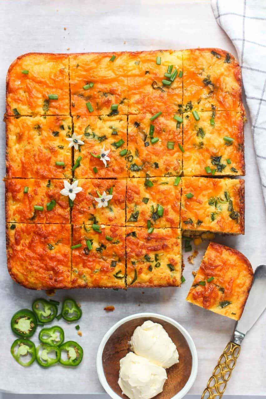 jalapeno cornbread cut in squares