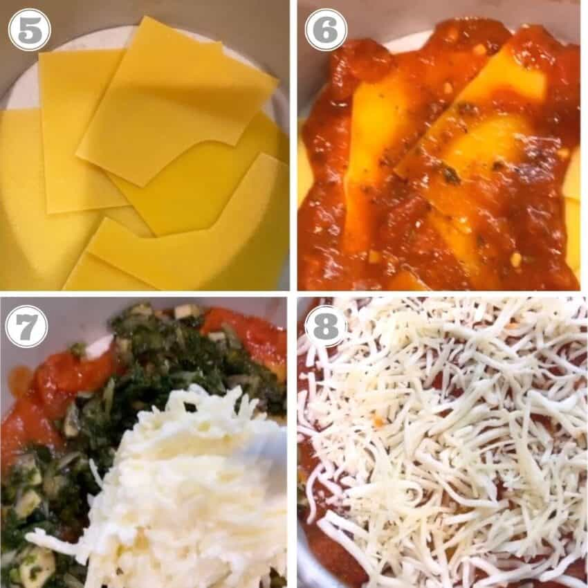 Steps five through eight of making lasagna