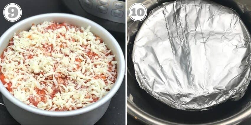 Steps nine and ten of lasagna recipe