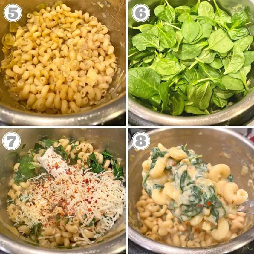 photos five through eight of making spinach artichoke mac n cheese in the instant pot