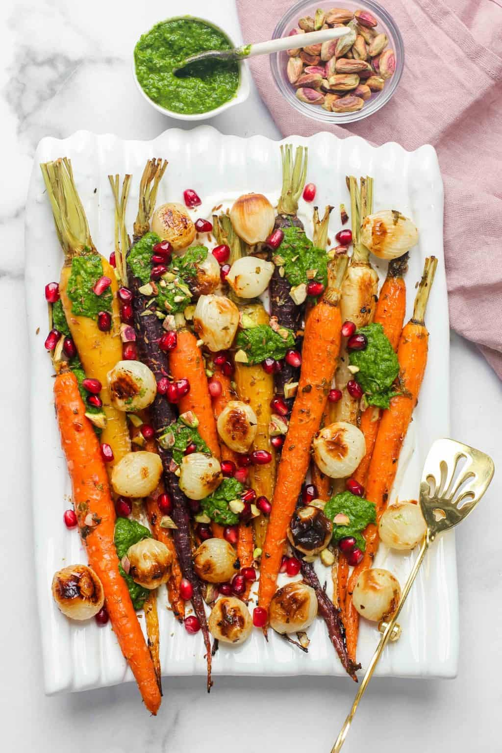 roasted carrots and pearl onions