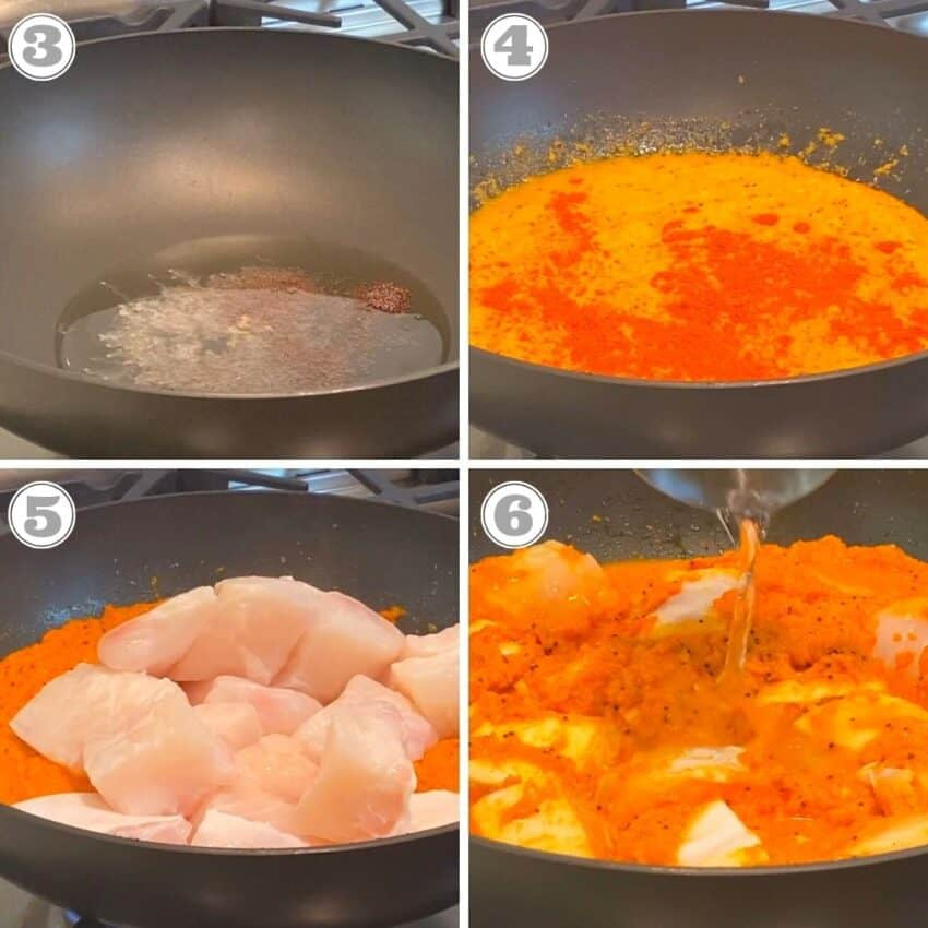 stepes three through six of making fish curry in a skillet