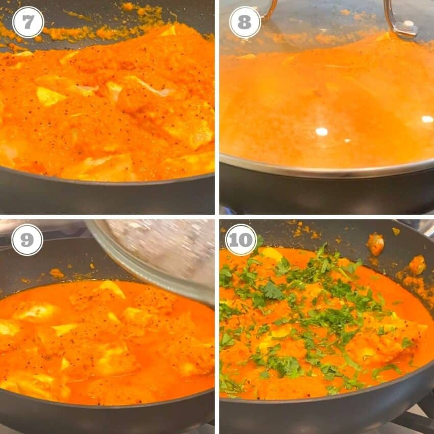 steps seven through ten of cooking fish curry