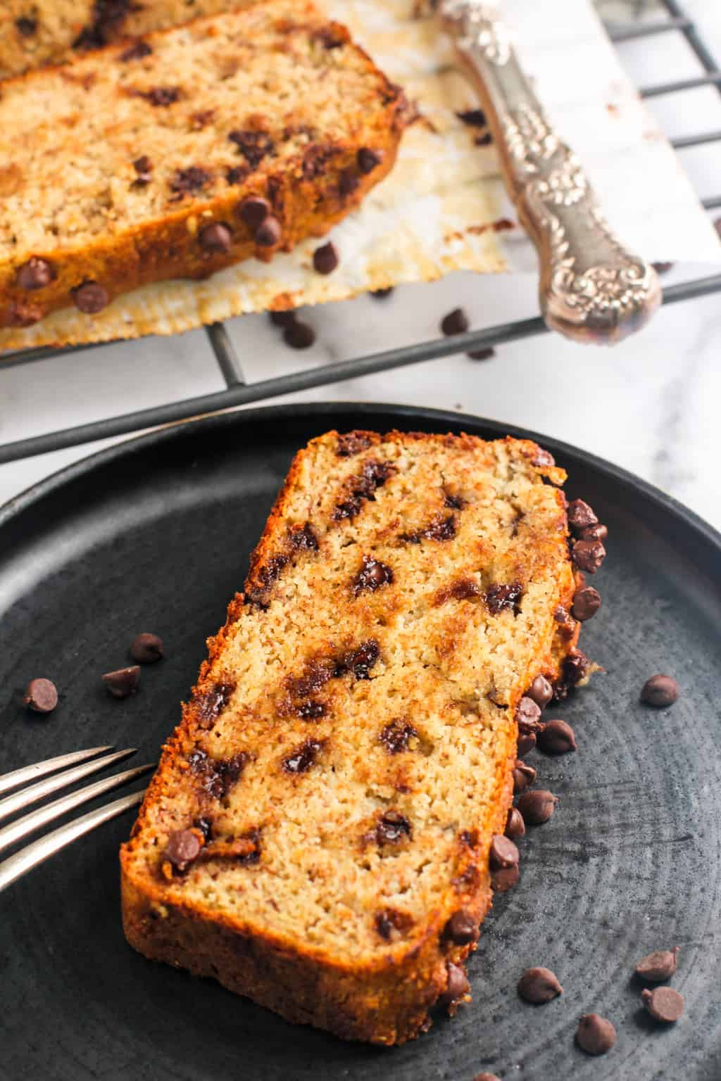 almond banana bread slice