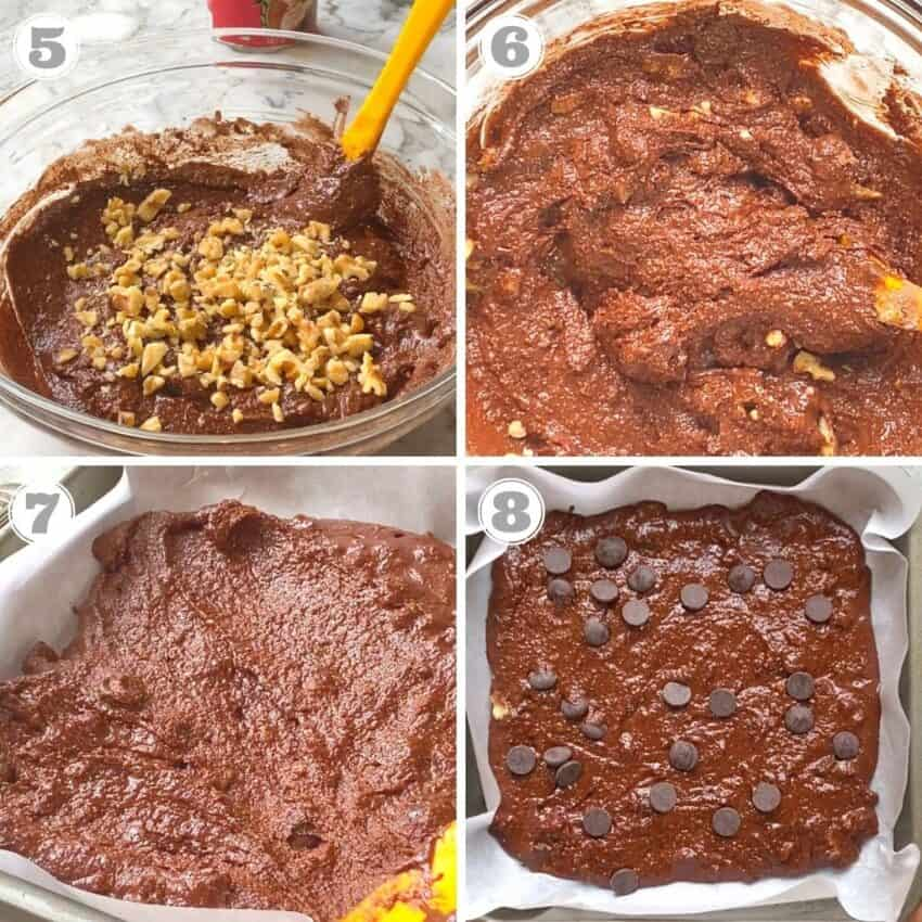 Pouring almond flour brownie batter into a baking dish and baking it.