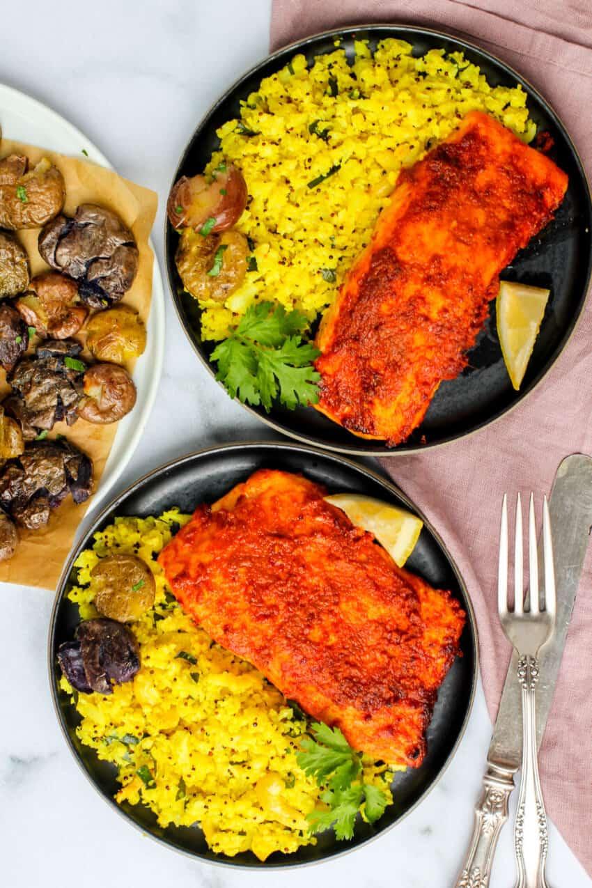 Tandoori salmon served with cauliflower rice and smashed potatoes