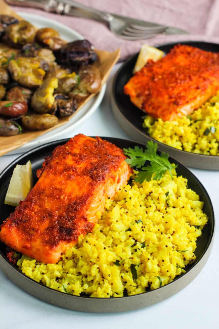 tandoori salmon served over turmeric cauliflower rice