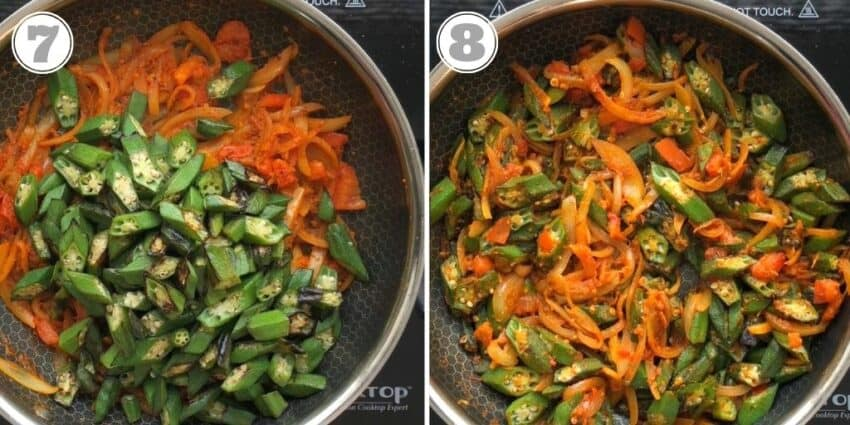 photos seven and eight okra mixed with onions and spices