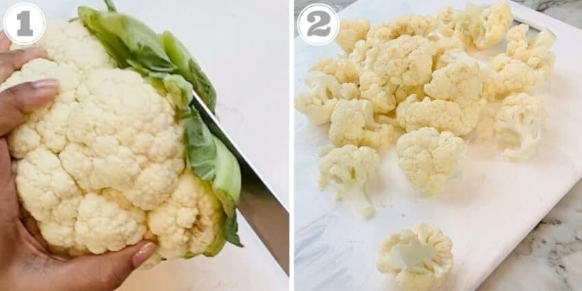 cutting cauliflower florets