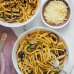 spaghetti with shiitake mushrooms