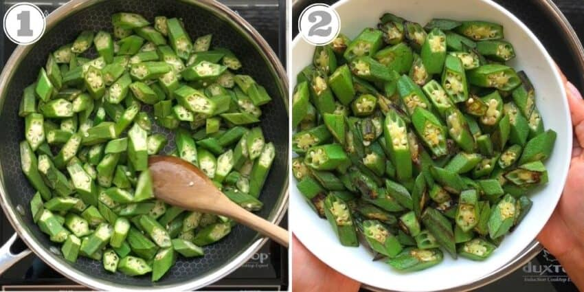photos one and two showing okra sauteeing
