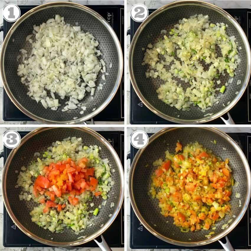 steps one through four of making egg bhurji