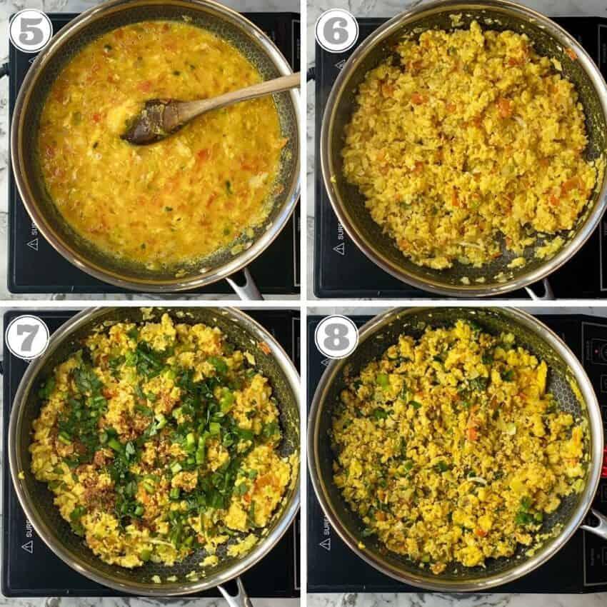 stpes five through eight of making egg bhurji