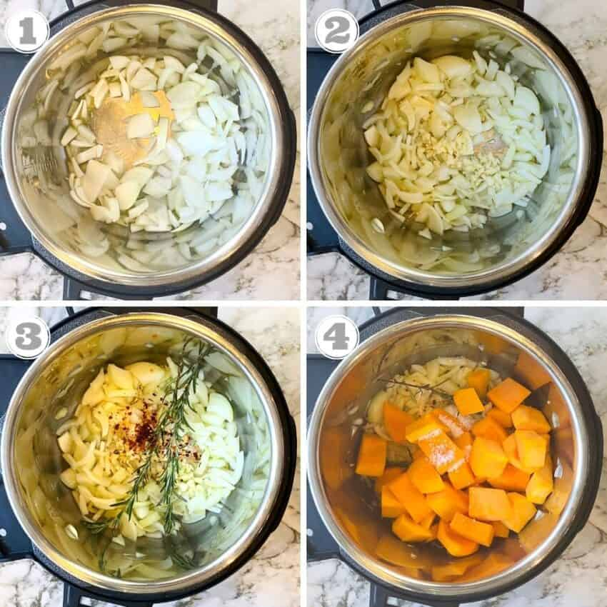 Steps one through four of making butternut squash soup