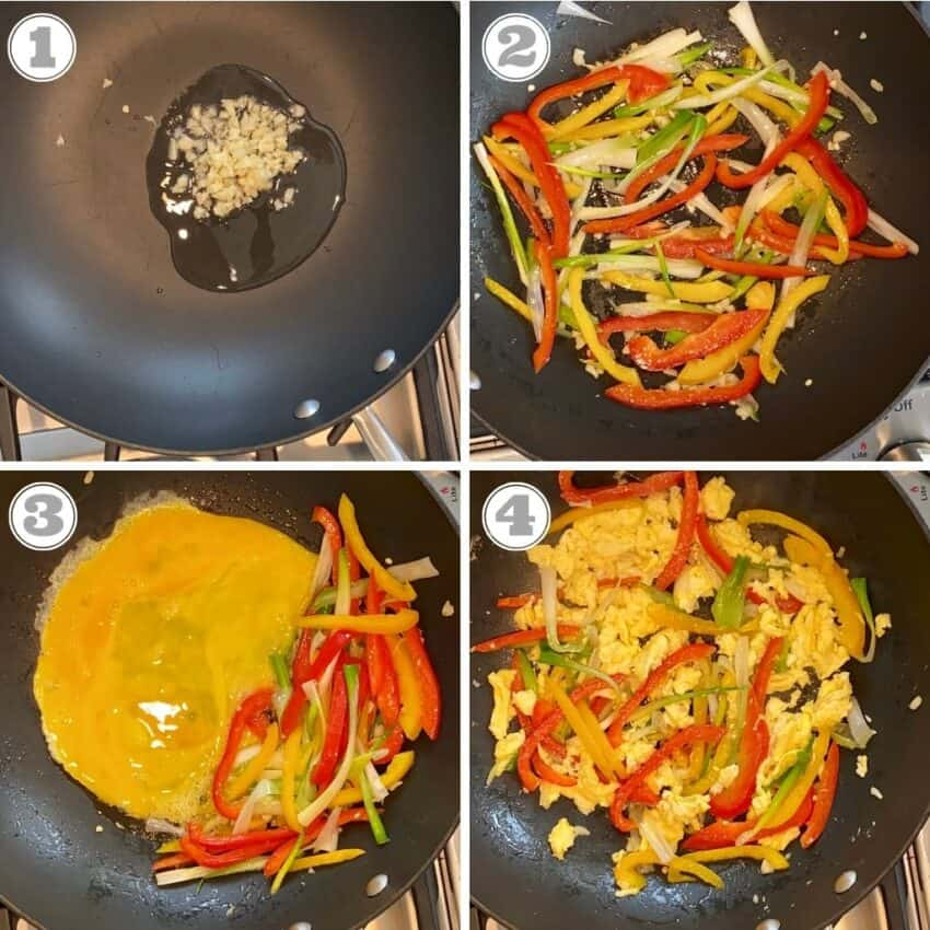 sautéing garlic, peppers and egg in a wok