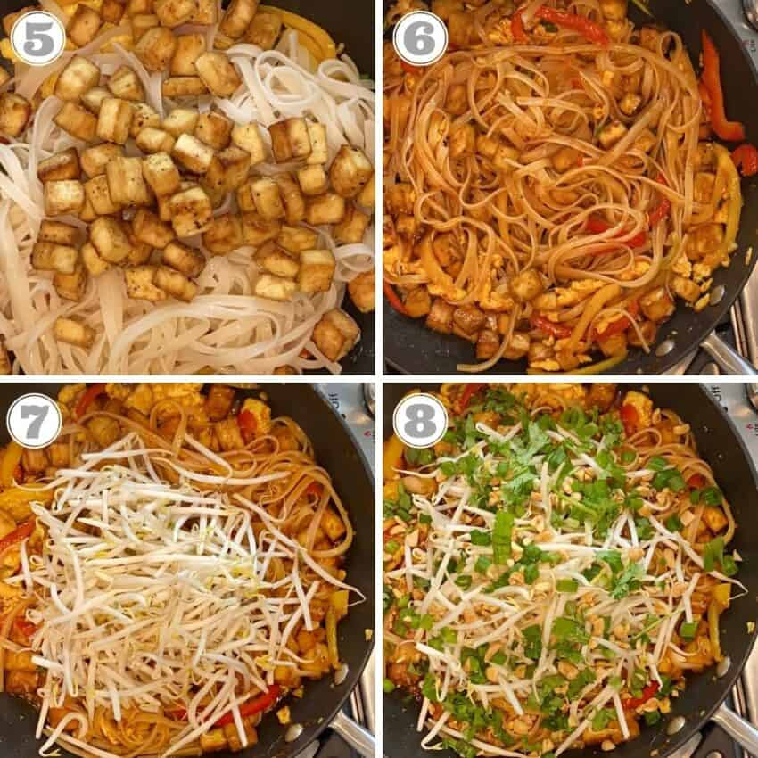 stir frying noodles, tofu and bean sprouts