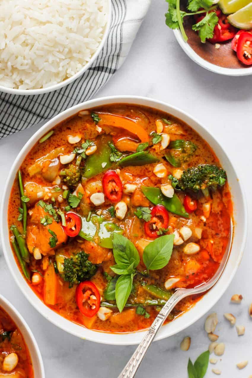 Vegan Thai Massaman Curry in a white bowl
