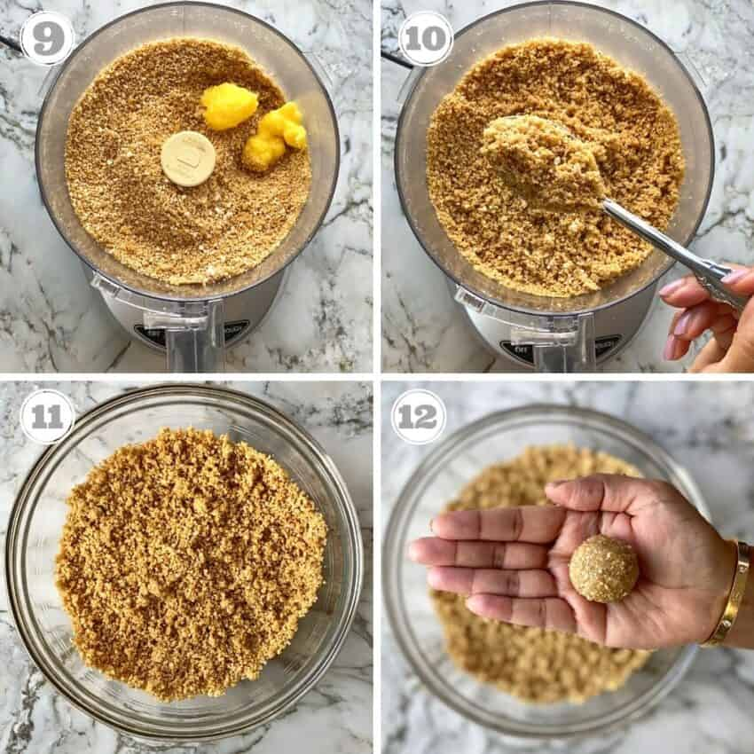 making laddo with sesame and jaggery mixture