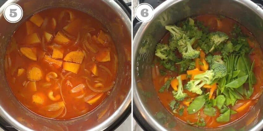 steps five through six adding vegetables to Instant Pot