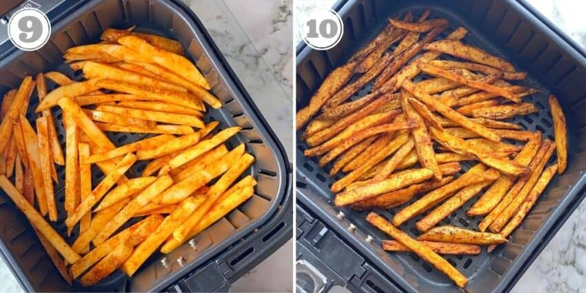 masala fries in the air fryer basket