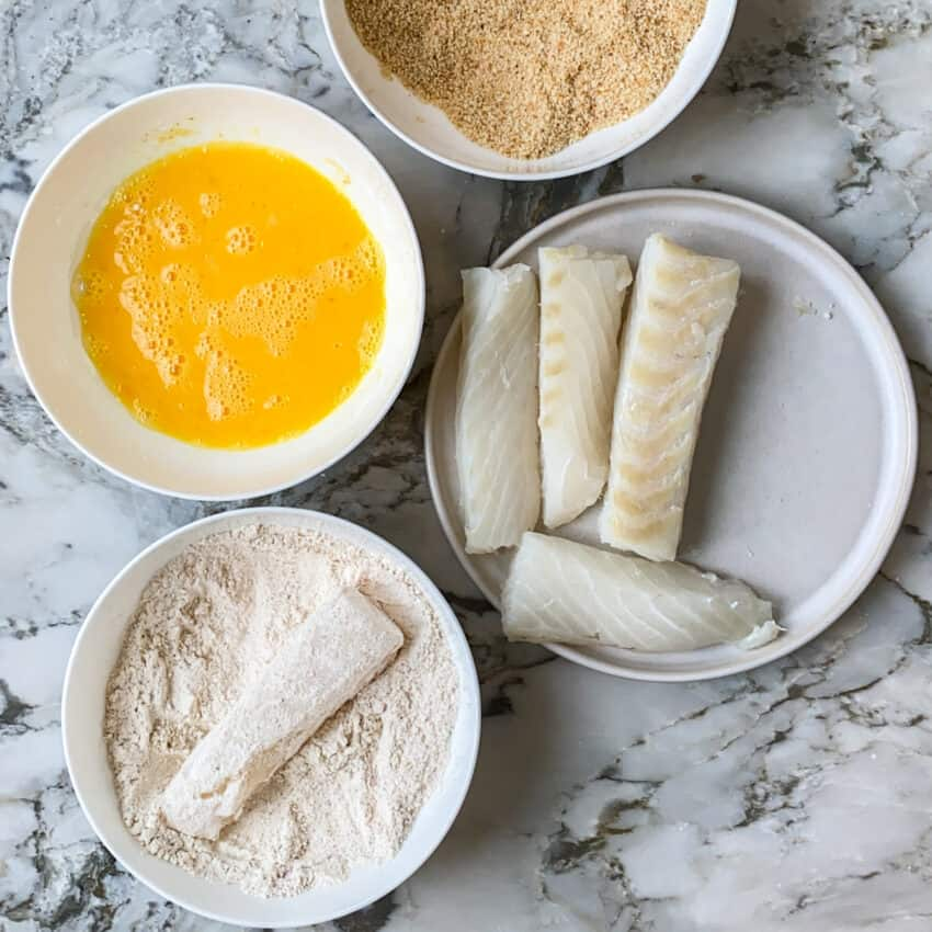 coating fish in flour