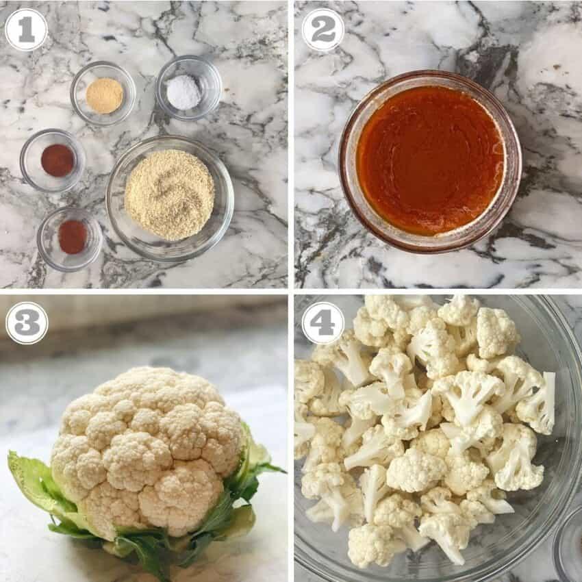 steps one through four of making buffalo cauliflower wings