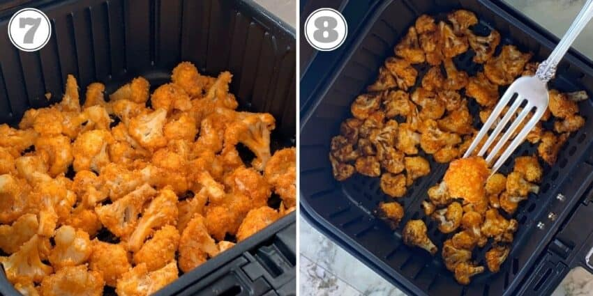 steps seven and eight of making buffalo cauliflower wings in air fryer basket