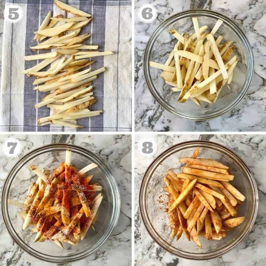 preparing potatoes sticks to make fries