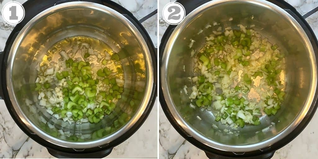 photos 1 and 2 showing sauteing of aromatics