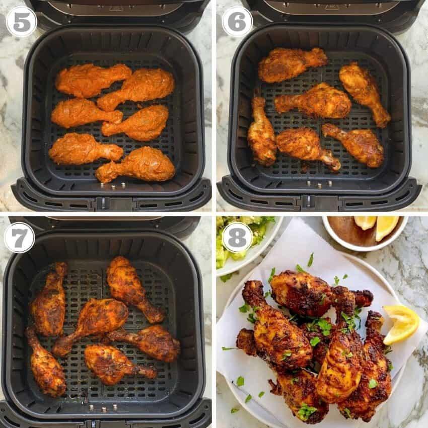 tandoori chicken cooked in air fryer basket