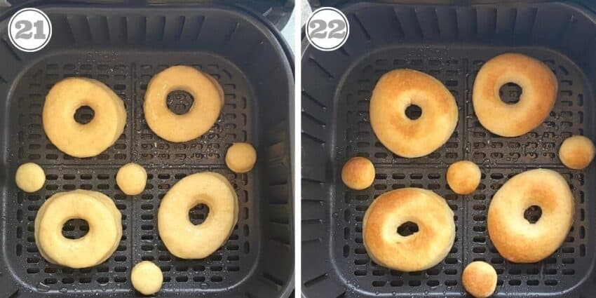 donuts in air fryer basket