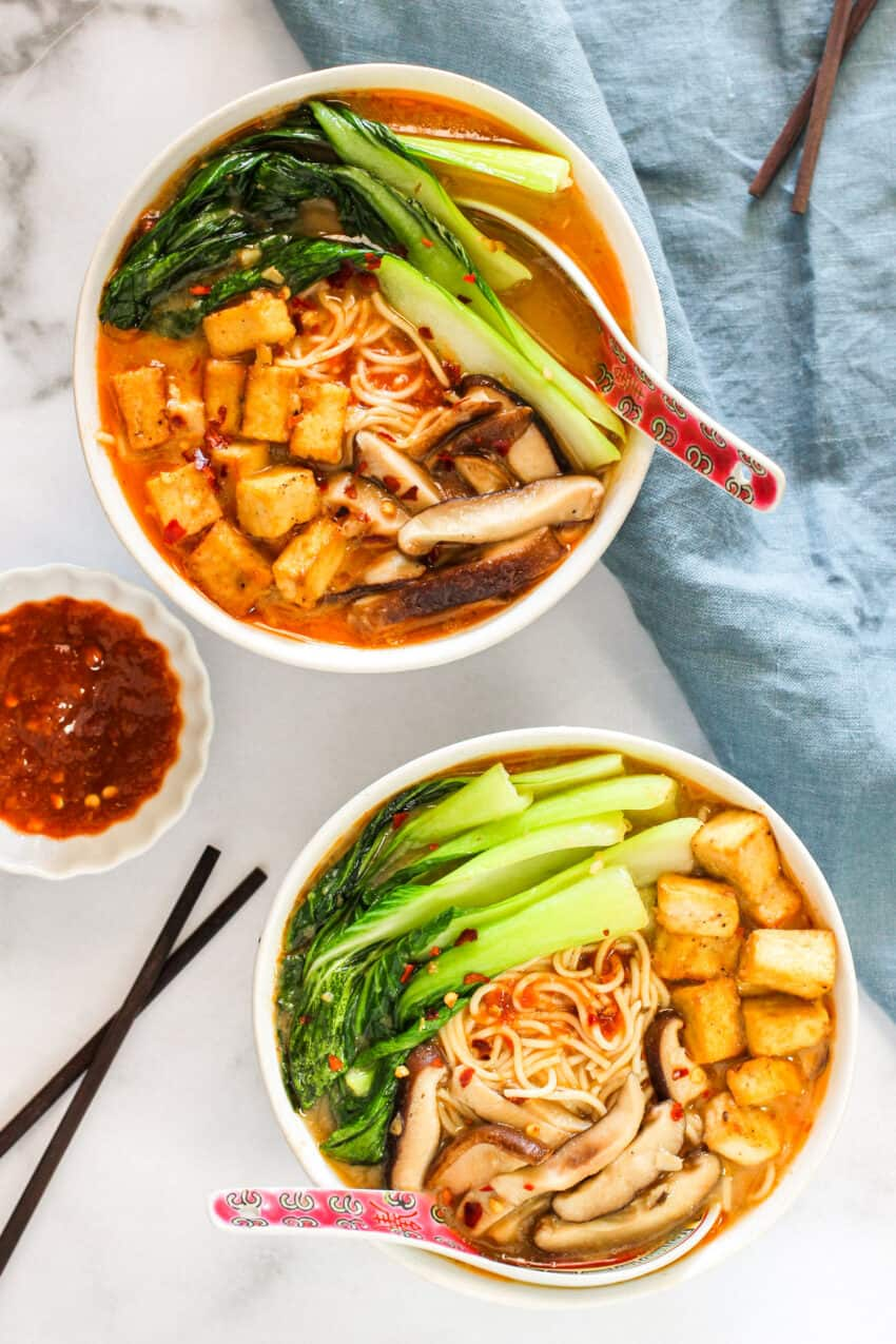 spicy miso ramen with tofu, bok choy and mushrooms