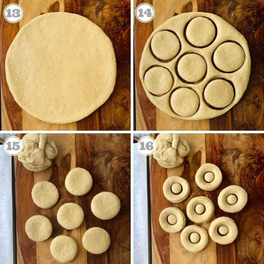 Cutting donuts and holes from rolled dough