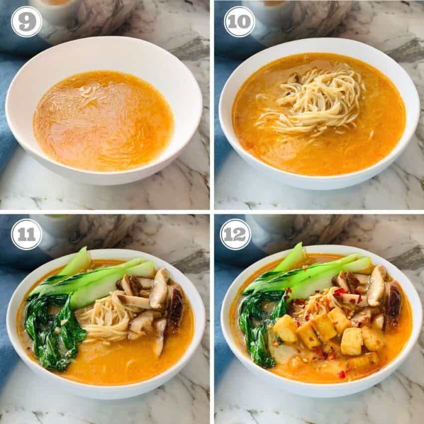 photos nine through twelve showing serving of miso soup