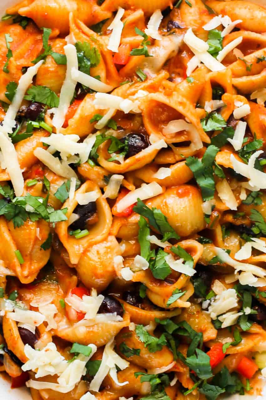 close up of taco pasta with beans and veggies