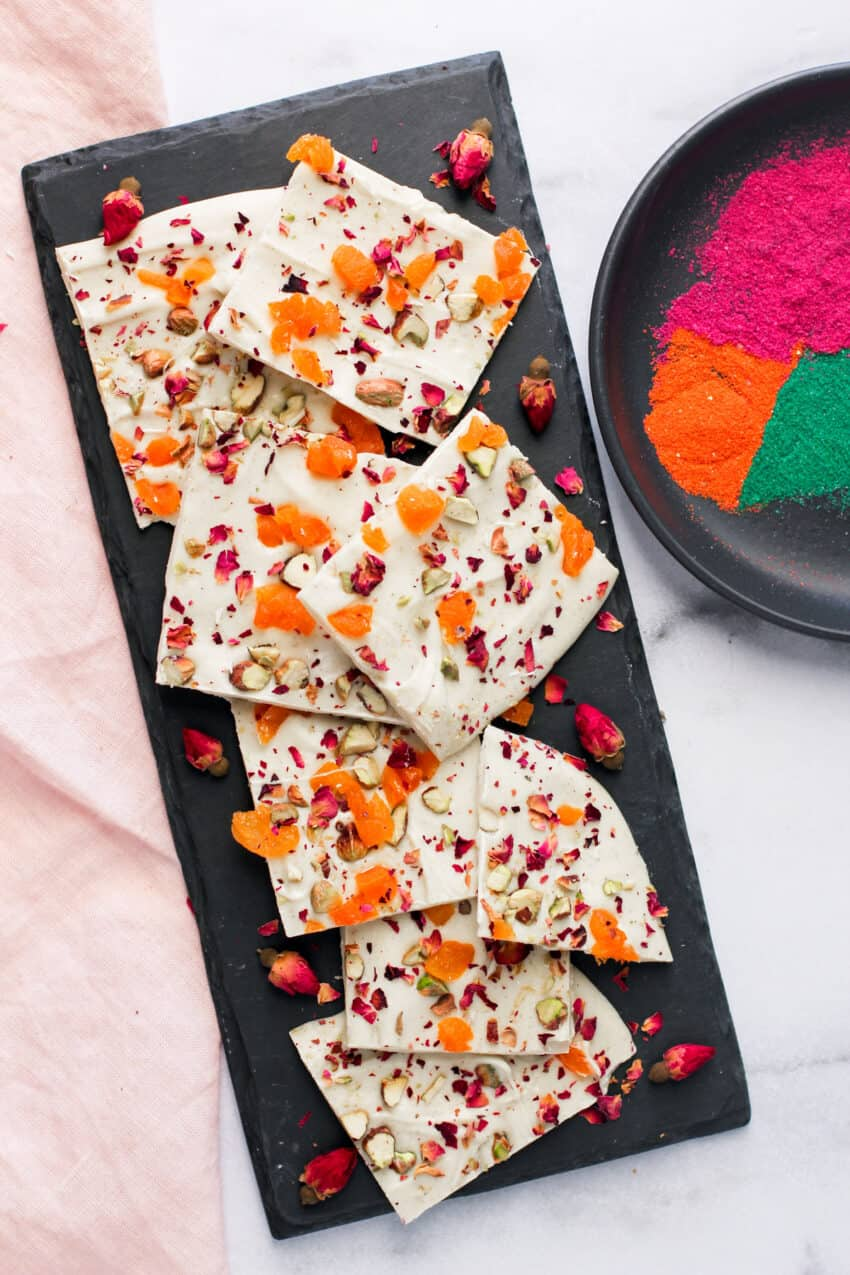white chocolate bark with holi colors