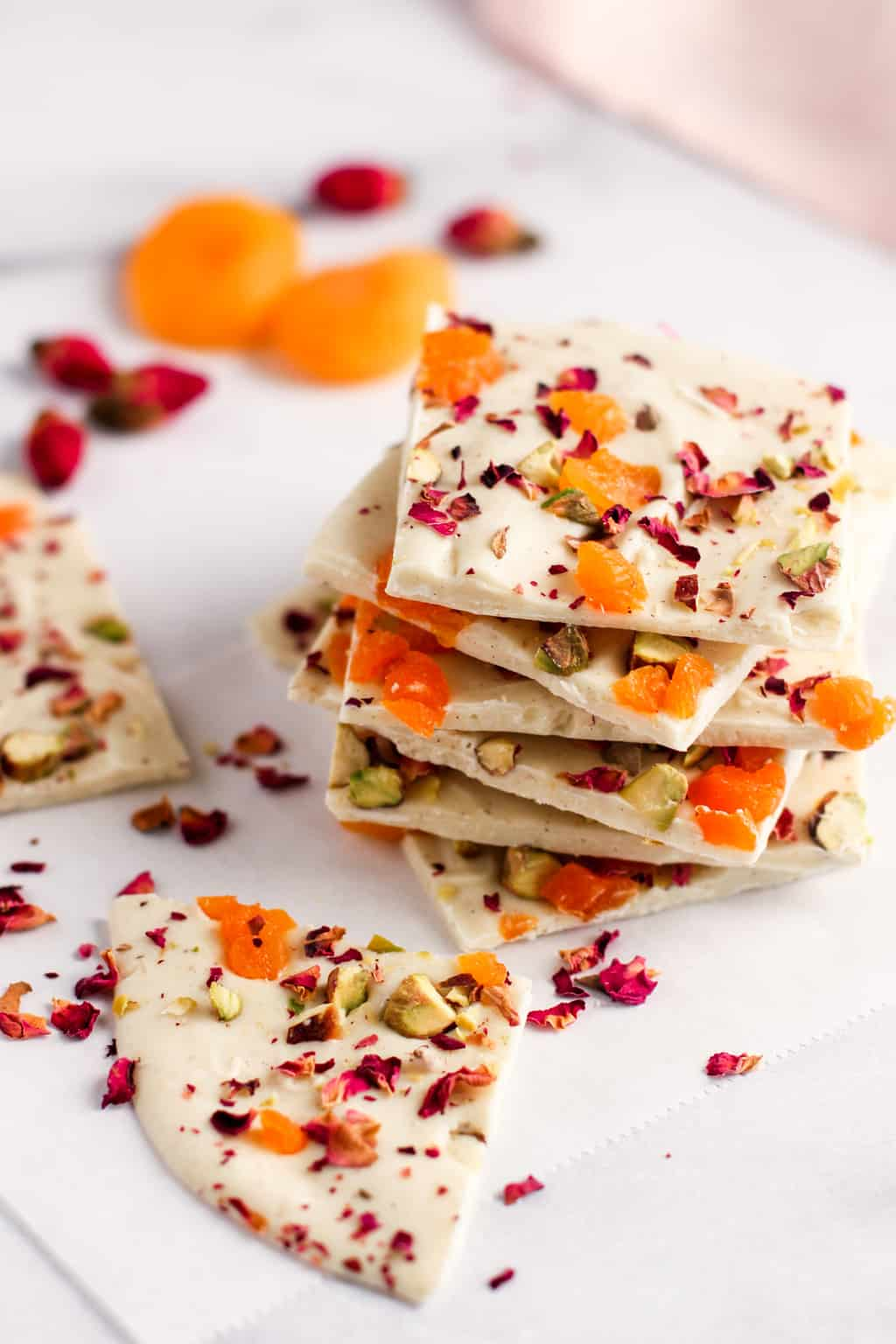 white chocolate bark with cardamom, pistachios, apricots and rose petals