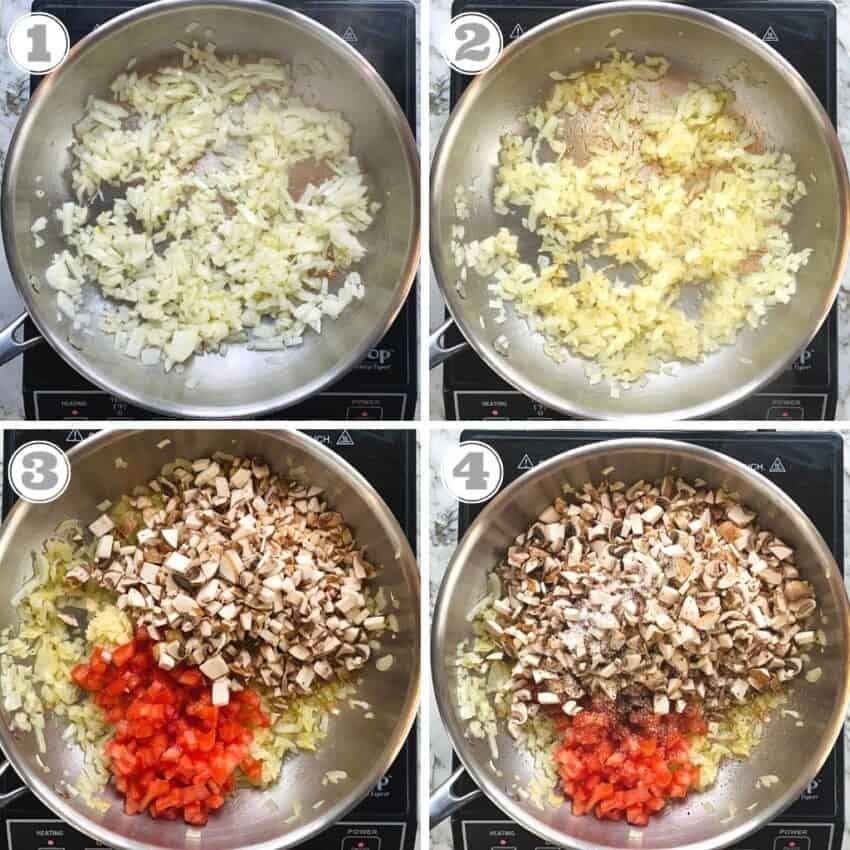 sautéing onions, mushrooms and tomatoes in a pan