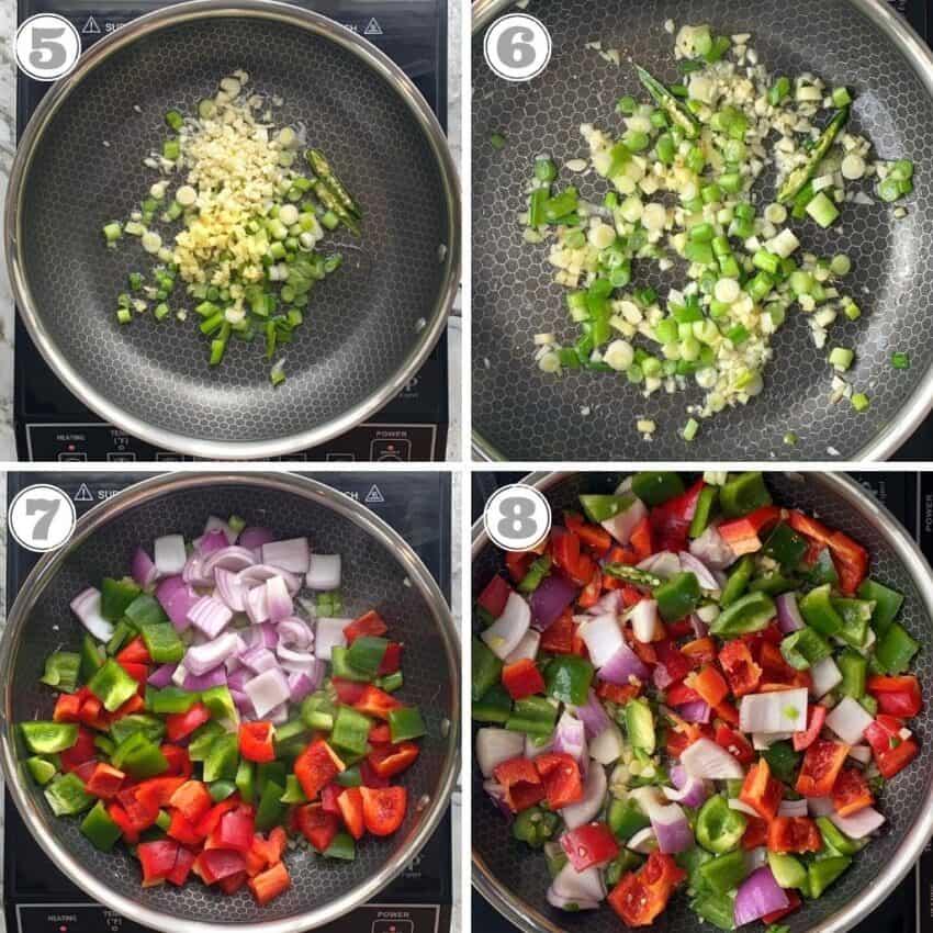 sautéing vegetables in a skillet