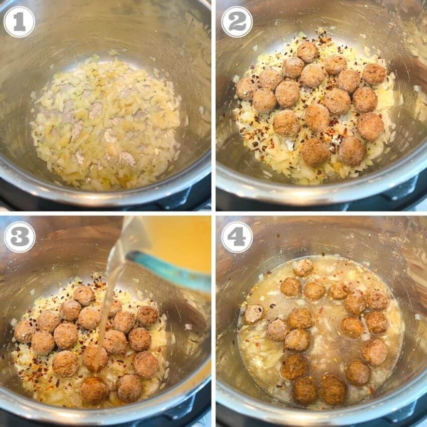 Steps one through four of vegetable manchurian