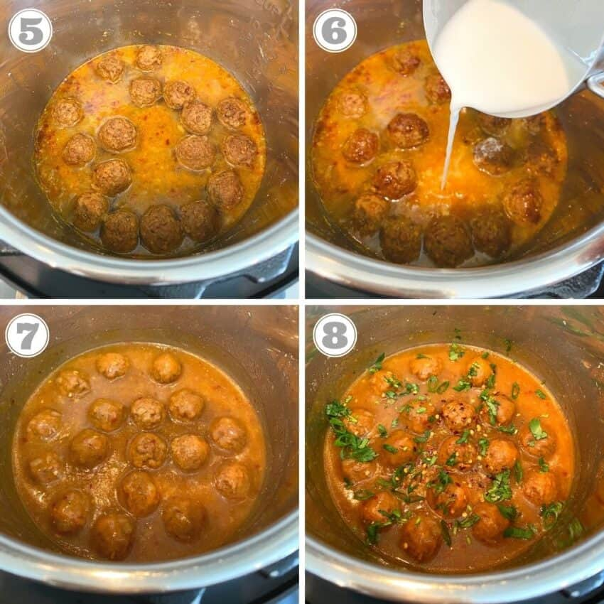 Steps one through four of vegetable manchurian in Instant Pot
