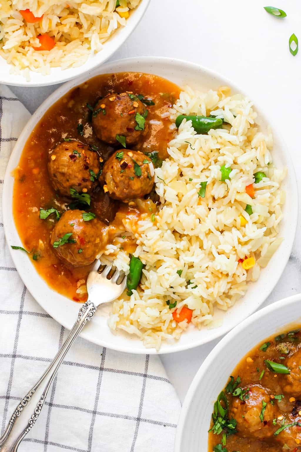veg manchurian served with fried rice