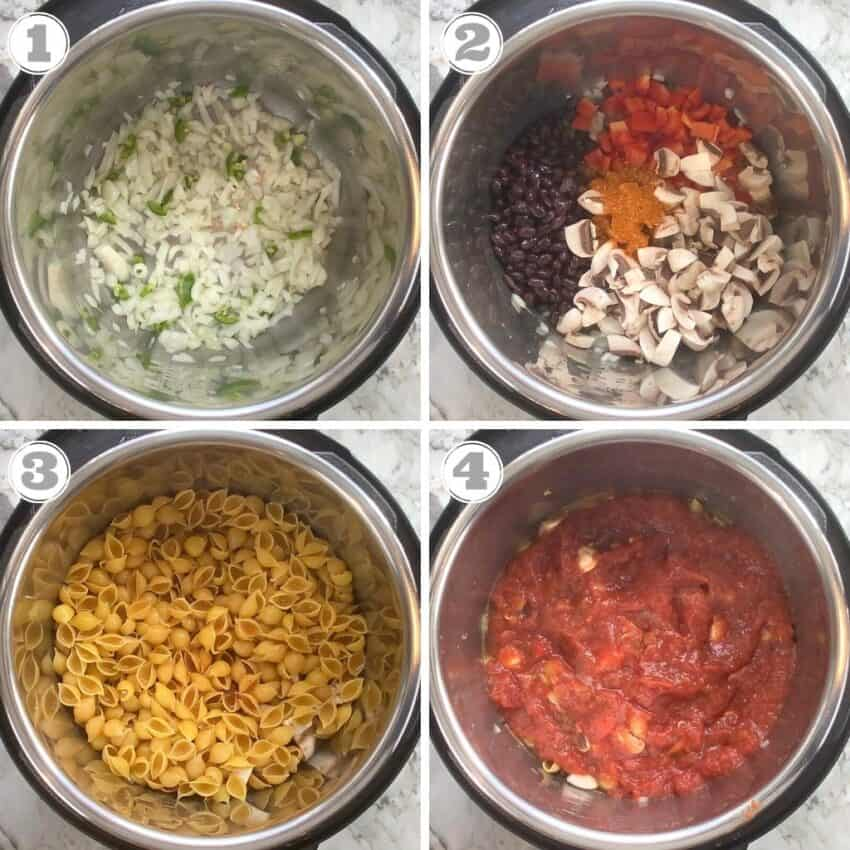 making taco pasta in the Instant Pot Pressure Cooker