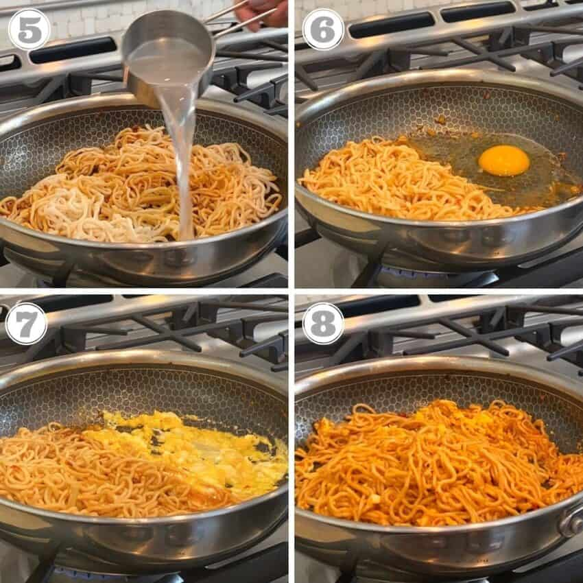 add water and egg to the pan with ramen noodles
