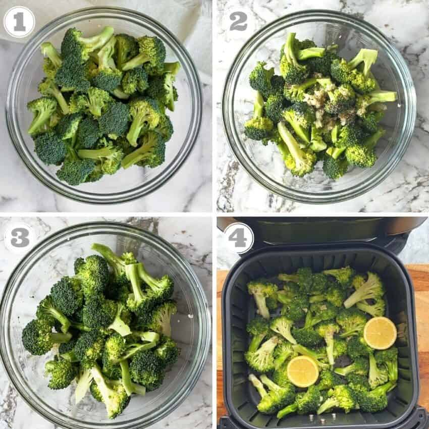 Steps one through four of air fryer broccoli