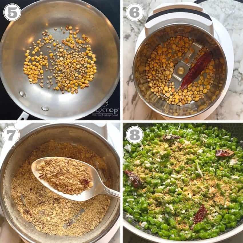 steps five through eight of making green beans poriyal