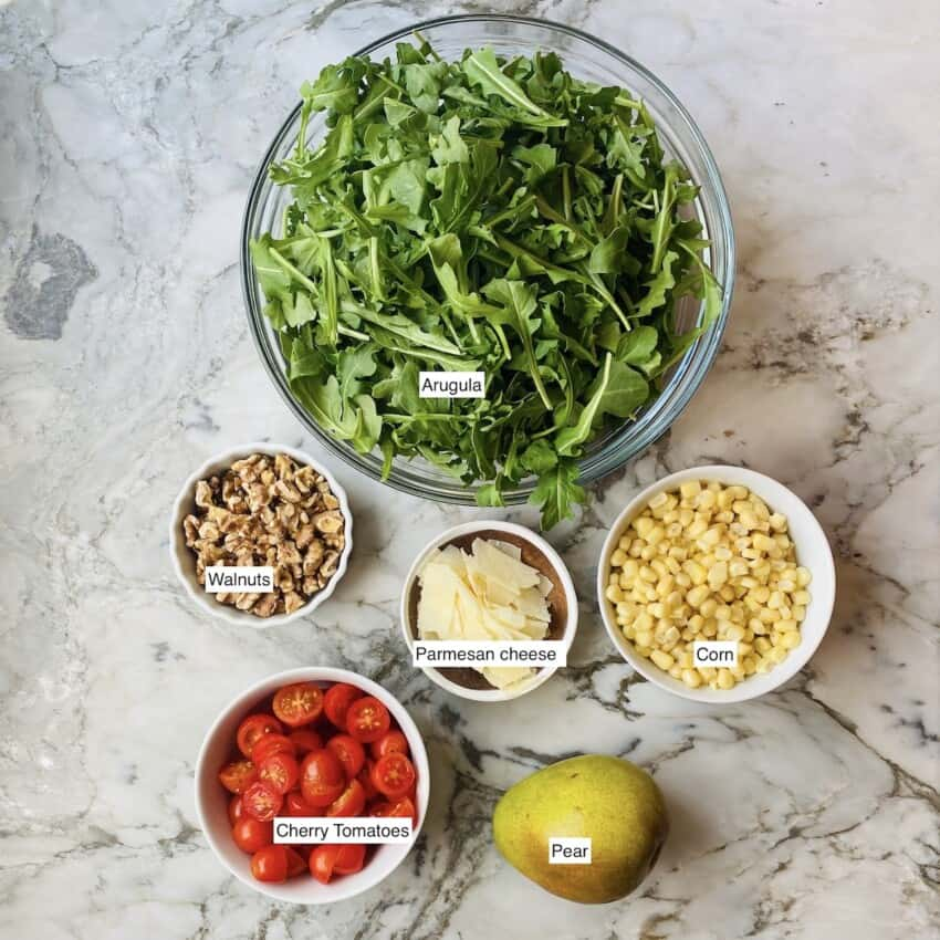 ingredients for arugula salad