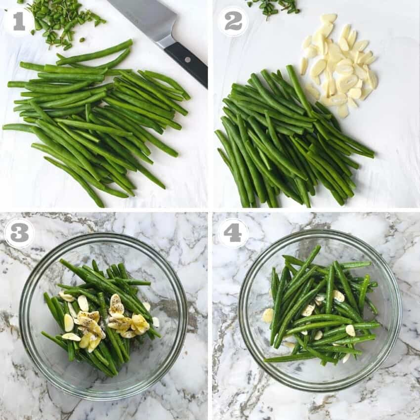 steps one through four of making air fryer string beans