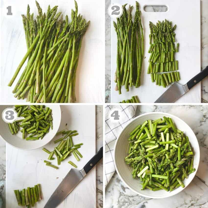 photos one though four showing how to prep asparagus