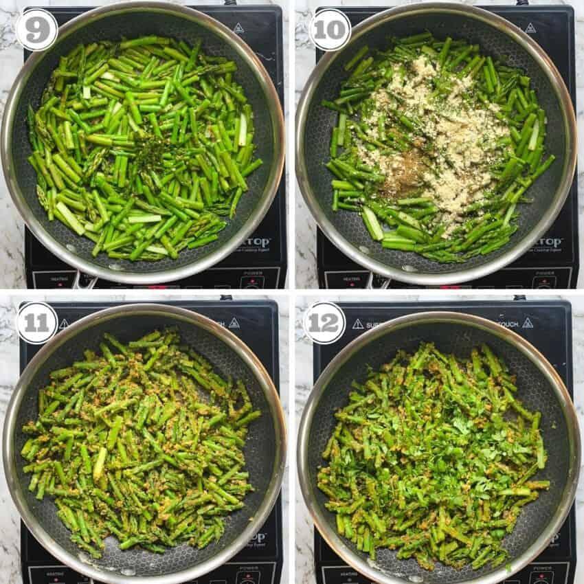 photos nine through twelve showing how to make indian asparagus